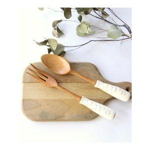 Vtg Salad Fork & Spoon Set w/ fruit ceramic handle
